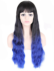 Fashion Style Long Wavy Hair Wig with Bangs Black and Blue Ombred Color Synthetic Wigs for Women