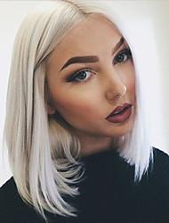 longueur moyenne couleur blanche bob synthétique stratifié avant de dentelle droite résistant à la chaleur perruque pour les femmes noires