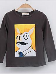 Tee-shirts Fille de Imprimé Décontracté / Quotidien Coton Automne Blanc / Gris