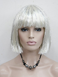 Cute White Mix With Silver Wire Straight Short Synthetic Women's Bob Party Cosplay Wig