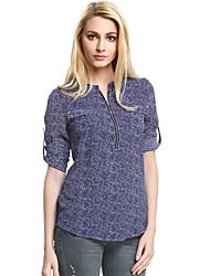 Damen Blumen Retro / Street Schick Lässig/Alltäglich T-shirt,Rundhalsausschnitt Frühling / Herbst ¾-Arm Blau Polyester Mittel