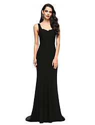 Mermaid / Trumpet Scoop Neck Sweep / Brush Train Jersey Formal Evening Dress with Lace by TS Couture®