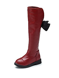 Girl's Boots Fall / Winter Comfort Leatherette Dress / Casual Flat Heel Bowknot Black / Burgundy Others