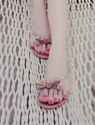Women's Slippers & Flip-Flops Summer Slingback Rubber Casual Flat Heel Rivet Black Pink Others