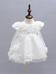 Baby Formal Solid DressPolyester All Seasons White