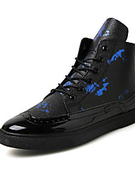 Men's Sneakers Spring Fall Winter Comfort PU Office & Career Casual Flat Heel Lace-up Black/Blue Black and Red Black and White