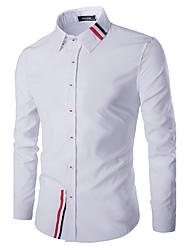 Men's Casual/Daily Simple Spring / Fall ShirtSolid Shirt Collar Long Sleeve Blue / White Cotton Medium