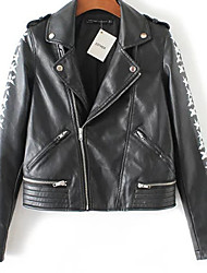 Women's Casual/Daily Simple Leather Jackets,Print Long Sleeve Winter Black PU