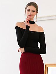 Mujer Regular Pullover Noche Sexy Simple,Un Color Negro Halter Manga Larga Algodón Primavera Otoño Medio Elástico