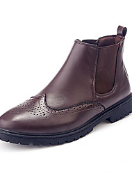 Черный Коричневый-Мужской-Для офиса Повседневный Для вечеринки / ужина-КожаУдобная обувь-Ботинки