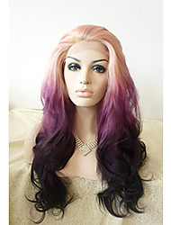 Sylvia Synthetic Lace front Wig Blonde Purple Black Three Tones Hair Ombre Hair Heat Resistant Long Natual Wave Synthetic Wigs