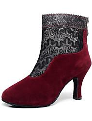 Sapatos de Dança(Preto / Vermelho / Chocolate) -Feminino-Personalizável-Latina / Botas de dança