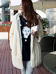 Women's Casual/Daily Simple Fur Coat,Solid Long Sleeve Winter Beige Rabbit Fur