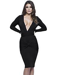 Women's Slinky Knotted Long Sleeve Knee Length Dress