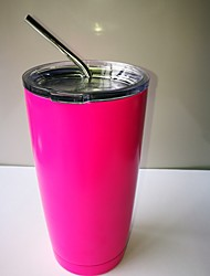 Hot Pink Cooler Rambler Tumbler 20 oz Silver Insulated Thermos Cup Mug  New