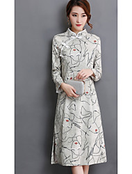 Sign new winter long section of double-vintage silk heavy silk cheongsam dress Slim