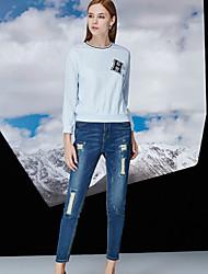 Pantalon Aux femmes Jeans Chic de Rue Coton / Spandex Non Elastique