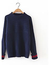 Damen Standard Pullover-Lässig/Alltäglich Niedlich Solide Blau Rosa Braun Rundhalsausschnitt Langarm Kaschmir Polyester Herbst Winter