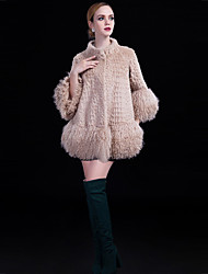 Lusi Fashion  Women's Casual/Daily / Party/Cocktail Simple CoatSolid Crew Neck  Sleeve Fall / Winter Multi-color Lamb Fur / Rex Rabbit Fur Medium