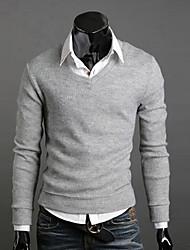 Herren Standard Pullover-Ausgehen Lässig/Alltäglich Arbeit Einfach Street Schick Solide Rot Schwarz Braun Grau Gelb Lila V-Ausschnitt