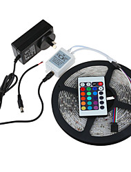 5M SMD3528 RGB Waterproof 24Keys IR Remote Control 2A Power 300 LED IP65 LED Strip Light(DC12V)