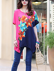 Women's Casual/Daily Boho / Street chic Summer T-shirt,Floral Round Neck Short Sleeve Pink Rayon Thin