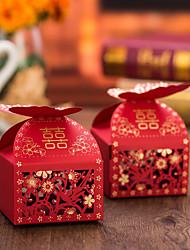 12 Piece/Set Red Laser Cut Butterfly Favor Box