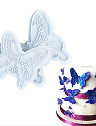 2Pcs/set Butterfly Shape Fondant Cake Decorating Plastic Cutter Embossing Cake Mould Sugarcraft Plunger Decor Press Mold