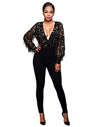 Women's Patchwork Sequins Tassel Mesh See-through Blouses Jumpsuits Sexy / Street chic Deep V Long Sleeve