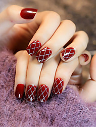 24Pcs Wine Red Stockings Sexy Nail Strips Restoring Ancient Ways 1Set