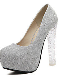 Women's Heels Spring Summer Fall Winter Synthetic Dress Casual Party & Evening Chunky Heel Sequin Silver Purple