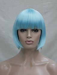 Femme Perruque Synthétique Sans bonnet Court Raide Bleu Coupe Carré Avec Frange Perruque de Cosplay Perruque Halloween Perruque de