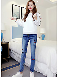 Women's Jeans Pants,Casual/Daily Cute Solid Low Rise Zipper Cotton Inelastic Spring / Summer