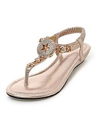 Damen-Sandalen-Kleid / Lässig-Glanz / maßgeschneiderte Werkstoffe-Keilabsatz-Komfort-Schwarz / Gold