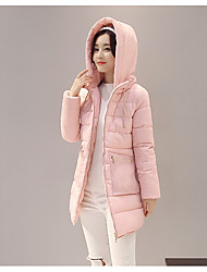 Women's Long Padded Coat,Simple Going out / Casual/Daily Solid-Others Cotton Long Sleeve Turtleneck Pink / Red / Black / Gray / Green
