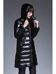 Women's Long Down Coat,Simple Going out Solid-Cotton Polypropylene Long Sleeve Hooded Black