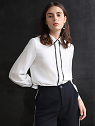ARKMIIDO Women's Formal Simple Fall ShirtSolid Shirt Collar Long Sleeve White Polyester Medium