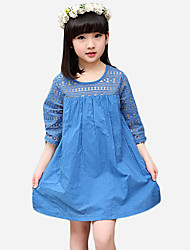 Girl's Going out Solid Dress,Cotton / Polyester Summer Blue / White