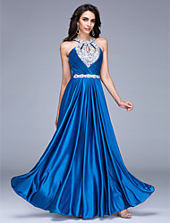 Formal Evening Dress A-line Halter Floor-length Satin with Beading