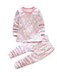Girl's Casual/Daily Animal Print Clothing Set,Cotton Winter Pink
