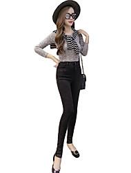 Pantalon Aux femmes Slim simple / Chic de Rue / Sophistiqué Coton Elastique