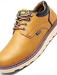 Men's Flats  Work & Safety / Comfort Cowhide Outdoor / Casual Low Heel Lace-up Black / Brown / YellowWalking /