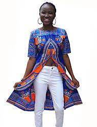 Damen Druck Retro / Street Schick Lässig/Alltäglich T-shirt,Rundhalsausschnitt Frühling / Herbst Kurzarm Blau Polyester Mittel