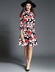 1287 Women's Going out / Casual/Daily Simple A Line DressFloral Stand Knee-length  Length Sleeve Red Polyester