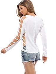 Tee-shirt Femme,Couleur Pleine Décontracté / Quotidien / Plage Chic de Rue Printemps / Automne Manches Longues Col Arrondi Blanc / Noir