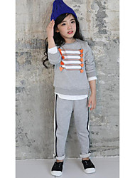 Girl's Casual/Daily Solid Clothing SetCotton Fall Gray