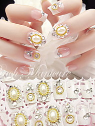 False Nail Product Manicure Patch Bride Nail Pearl French Manicure Tablets 24 Boxes