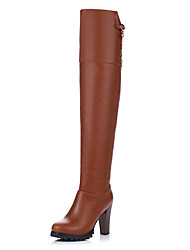Women's Boots Winter Fashion Boots Dress Chunky Heel Zipper Brown / Red Others