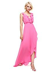 Asymmetrical Georgette Elegant Bridesmaid Dress - Sheath / Column V-neck with Ruffles