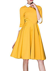 Women's Casual/Daily Simple Sheath DressSolid Peter Pan Collar Knee-length  Sleeve Black / Yellow Polyester All Seasons